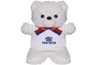 Coolest Twin Sister Family design Teddy Bear by CafePress