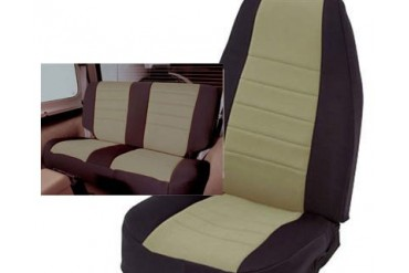Smittybilt Tan on Black Neoprene Front and Rear Seat Cover Special NEOCOVER2T Seat Cover