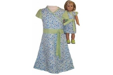 Matching Dolls And Girls Clothes Green Blue Dress Size 6