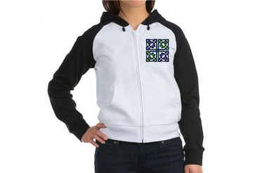 Celtic Knot Squared Green Women's Raglan Hoodie by CafePress