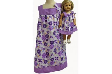 Matching Doll And Girl Clothes LilaccFlower Dress Size 14