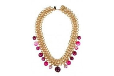 Kenneth Jay Lane Gold Link Chain Cherry Agate Beads Drops Necklace