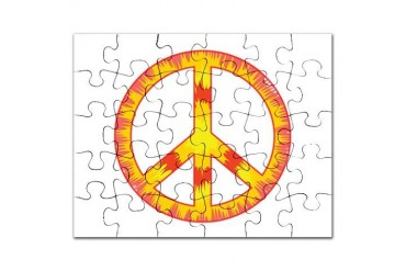 Trippy Peace Sign Tie Dye - Red Orange Yellow Puzz Peace sign Puzzle by CafePress