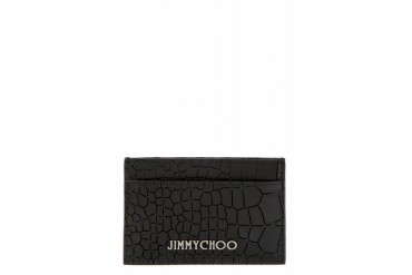 Jimmy Choo Black Croc embossed Dean Card Holder