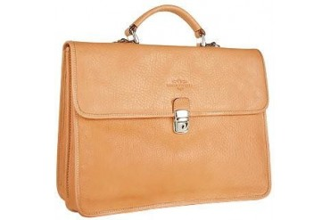 Men's Sand Double-Gusset Soft Leather Briefcase
