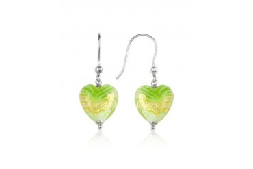 Mare - Lime Murano Glass Heart Drop Earrings