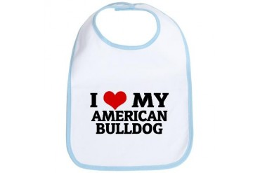 I Love My American Bulldog Pets Bib by CafePress