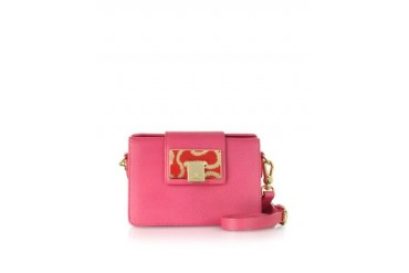 Fuschia Small Opio Saffiano Leather Crossbody Bag