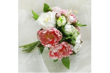 Girly Round Satin Bridesmaid Bouquets (124032120)