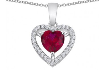 Star K Heart Shape Created Ruby Halo Heart Pendant