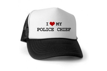 I Love POLICE CHIEF Police Trucker Hat by CafePress