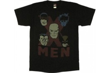 Marvel Comics X-Men Faces on X T-Shirt Sheer