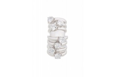 Maison Martin Margiela Silver Stacked Crystal Ring