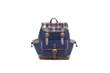 EZRA by ZALORA Canvas Backpack With Checkered Flap