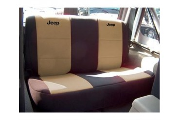 Coverking Jeep Logo Black and Tan Neoprene Rear Seat Cover  SPC144L Seat Cover