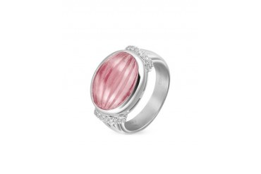 Carved Pink Rubellith and Diamond 18K Gold Ring