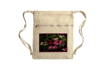 Floral photo Field of purple daisies Sack Pack Art Cinch Sack by CafePress