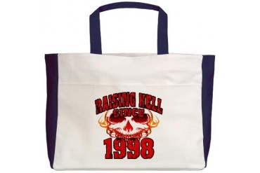 Raising Hell since 1998.png Funny Beach Tote by CafePress
