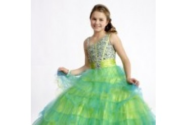"Perfect Angels Collection ""In Stock"" Turquoise/Lime Dress - Style 1483"