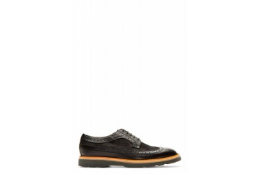 Paul Smith Black Paneled Leather Grand Wingtip Brogues