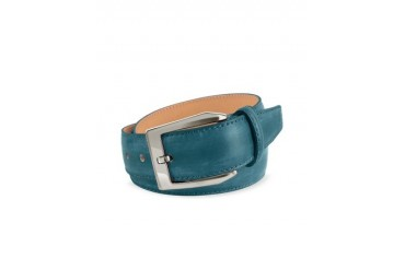 Men's Petrol Blue Hand Painted Italian Leather Belt