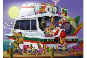 Ho Ho Ho Santa s Cabin Cruiser Boat Christmas Holiday Boxed Greeting Cards