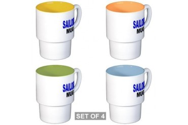 SAILORS MUG Funny Stackable Mug Set 4 mugs by CafePress