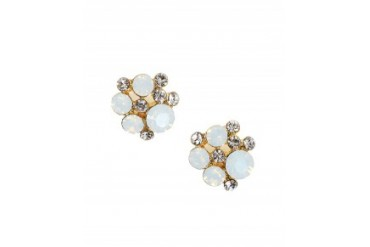 Pin & Tube Mini Cluster Post Earrings White