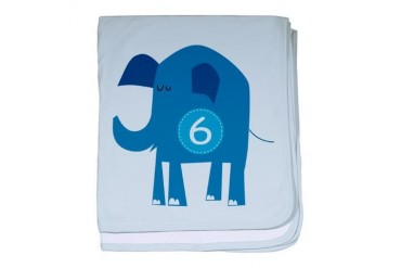 Number 6 Elephant Animal baby blanket by CafePress