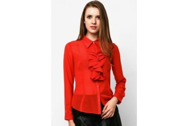 Mint Candice Ruffle Red Blouse