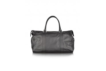 Large Black Leather Weekender bag