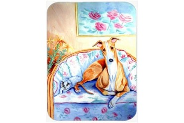 Whippet waiting on Mom Glass Cutting Board Large