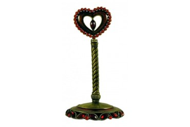 Pewter Red Heart Shape Jewelry Ring Holder Stand