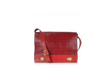 Burgundy and Red Croco Stamped Italian Leather Shoulder Bag