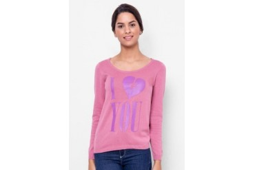 Catwalk88 I Love You Printed Scoop Neck Sweater