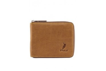 Polo Embossed Zippered Leather Wallet