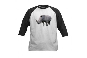 Rhino Black Animals Kids Baseball Jersey by CafePress