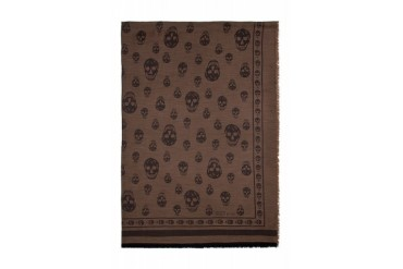 Alexander Mcqueen Brown And Black Big Skull Shawl
