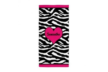 Personal name zebra Beach Towel