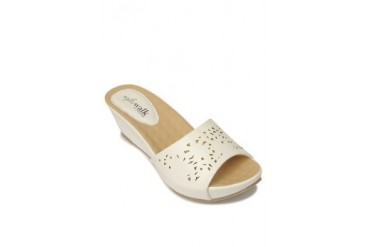 White Brielle Wedges Slide