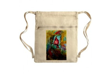 Cardinal, red bird art Sack Pack Art Cinch Sack by CafePress