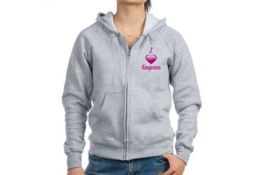 I Love/Heart Kangaroos Animals Women's Zip Hoodie by CafePress