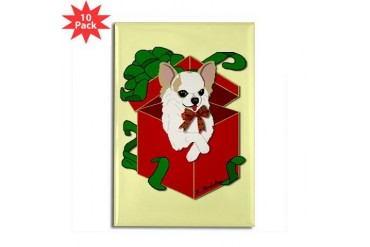 Chihuahua Gift Box Pets Rectangle Magnet 10 pack by CafePress