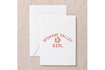 Spokane Valley Pink Girl Location Greeting Card by CafePress