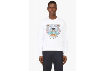 Kenzo White Embroidered Tiger Sweater