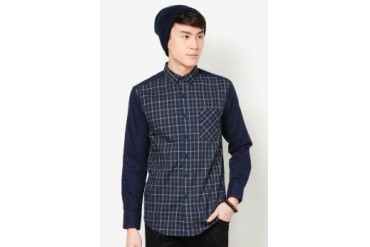 Checkered Shirt With Contrast Long Sleeve