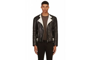 Mcq Alexander Mcqueen Black And White Leather Quilted Biker Jacket