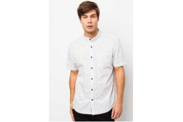 River Island White Space Dye Grandad Collar Shirt