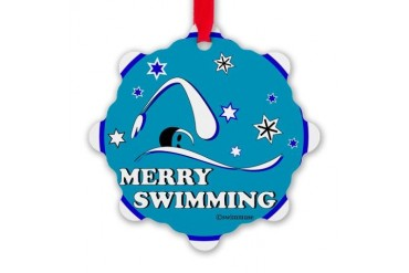 Merry Swimming Snowflake Ornament