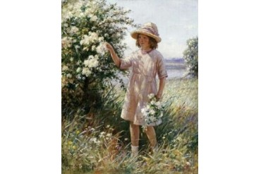 Picking May Blossom Poster Print by William Kay Blacklock (11 x 14)